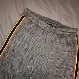 Grey plaid pants/joggers with stripes on side